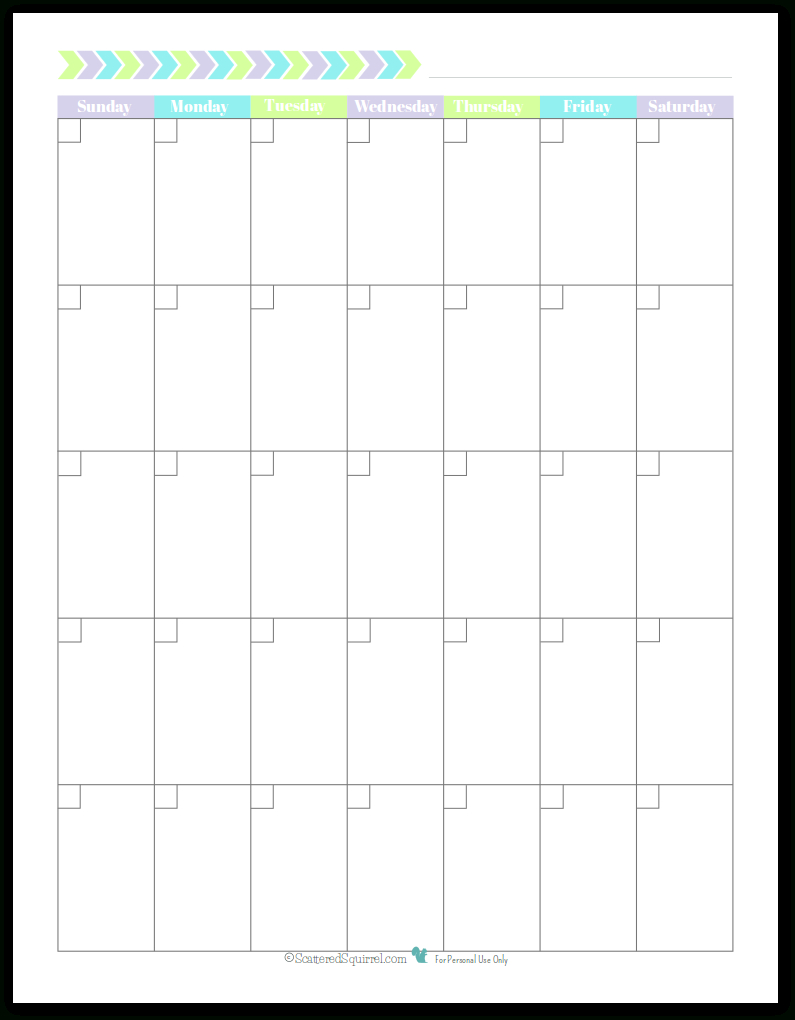 Pretty In Pastel Planner Printables | Blank Calendar