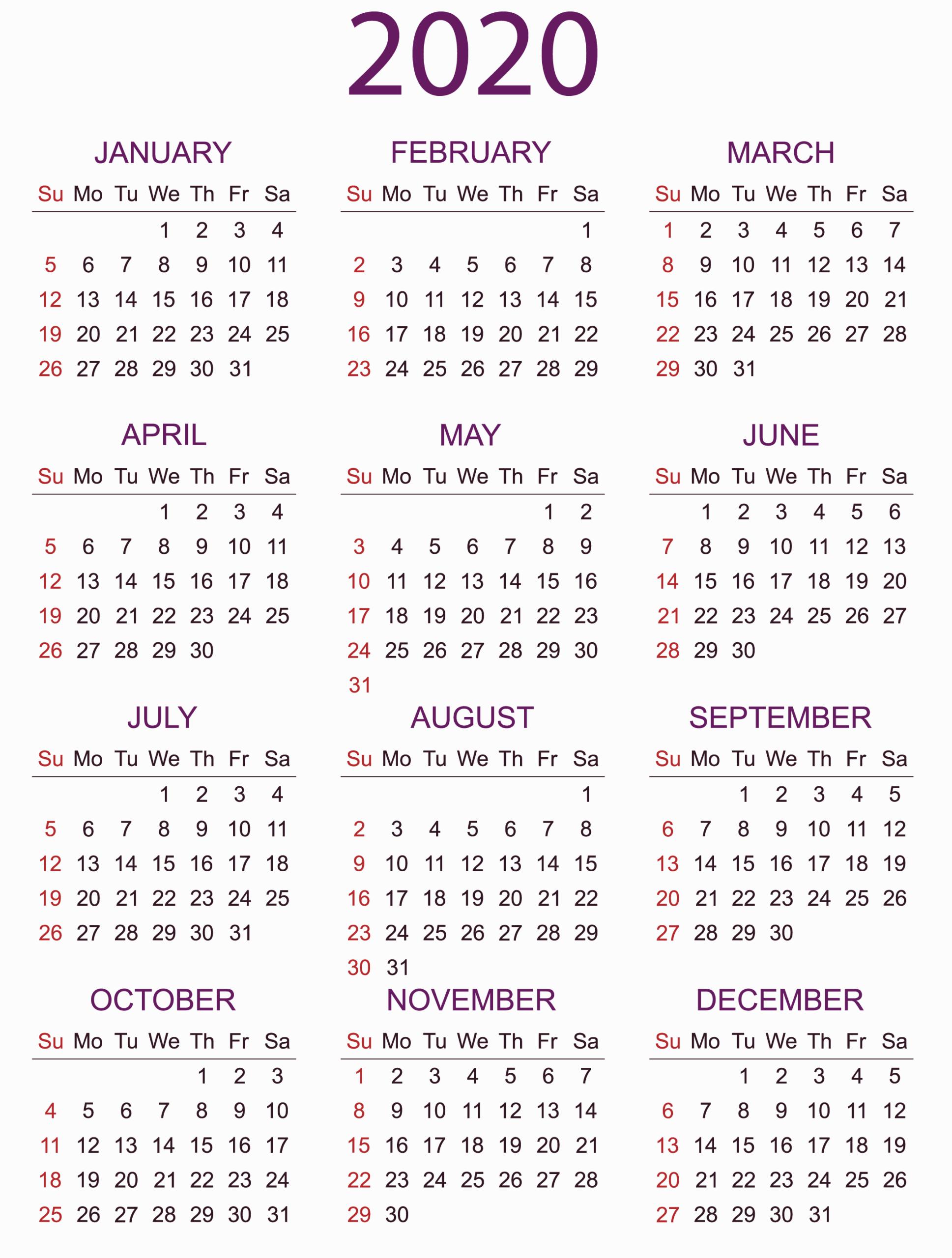 Print A Year Calendar 2020 | Calendar Printables Free