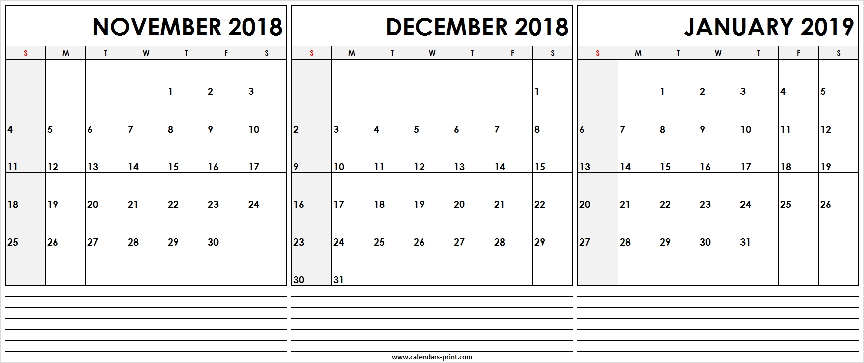 Print Calendar November December January | Ten Free