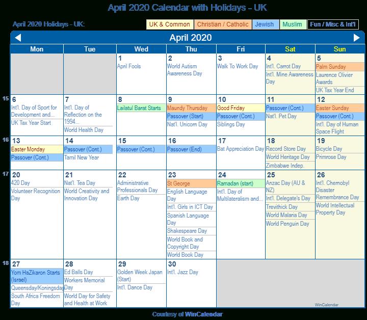 Print Friendly April 2020 Uk Calendar For Printing