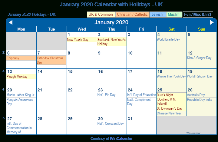 Print Friendly January 2020 Uk Calendar For Printing