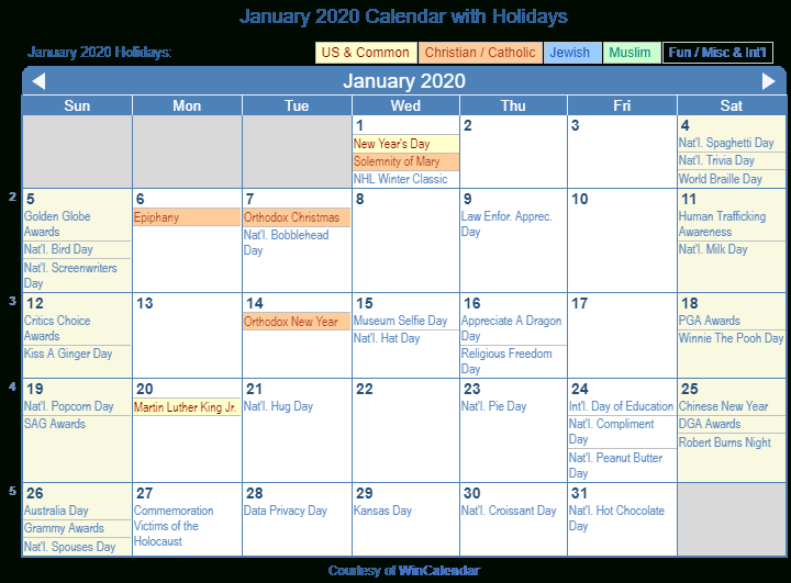 Print Friendly January 2020 Us Calendar For Printing
