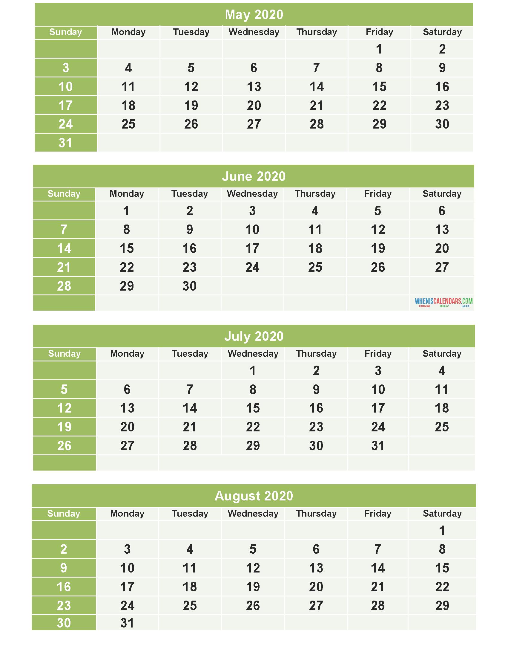 Print June July Augest Calendar For 2020 | Example