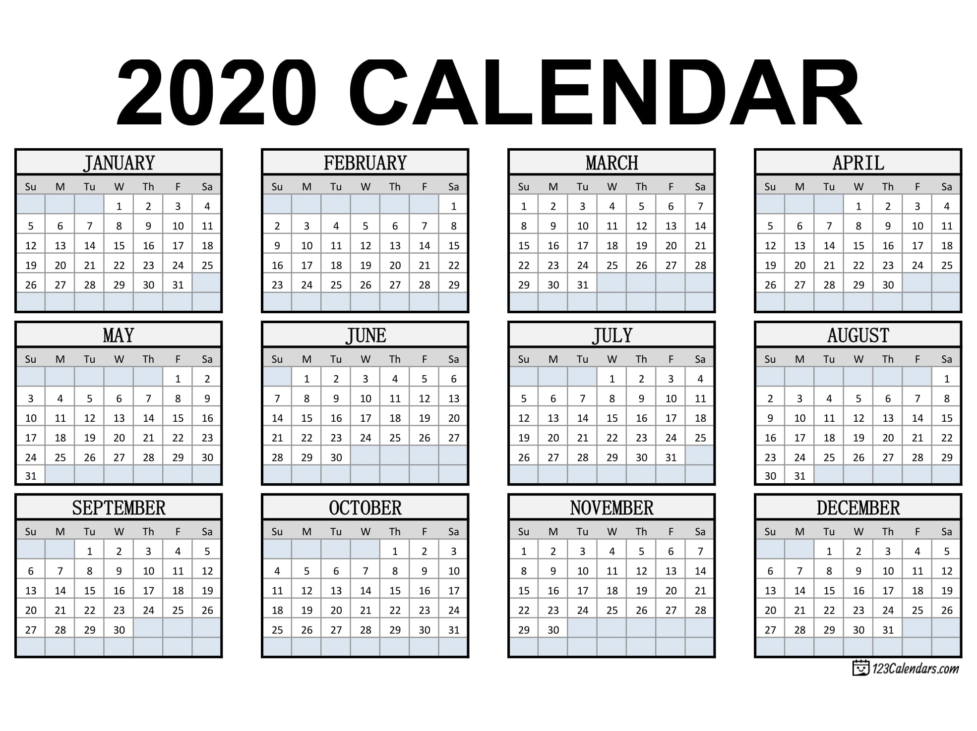 Print Yearly Calendar 2020 Free | Month Calendar Printable