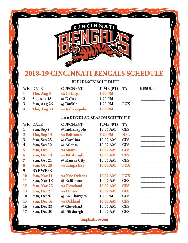 Printable 2018-2019 Cincinnati Bengals Schedule