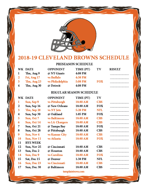 Printable 2018-2019 Cleveland Browns Schedule