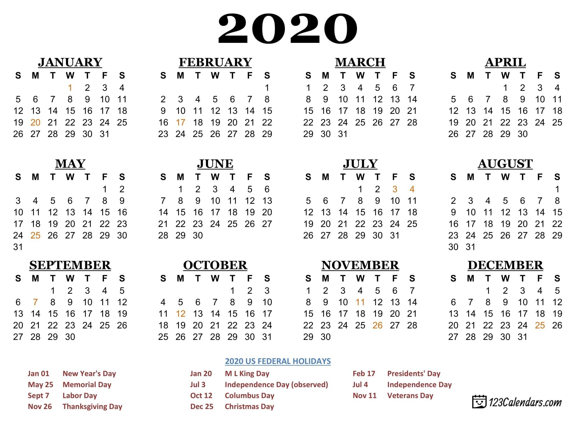 Printable 2020 Calendar With Holidays Usa | Calendar