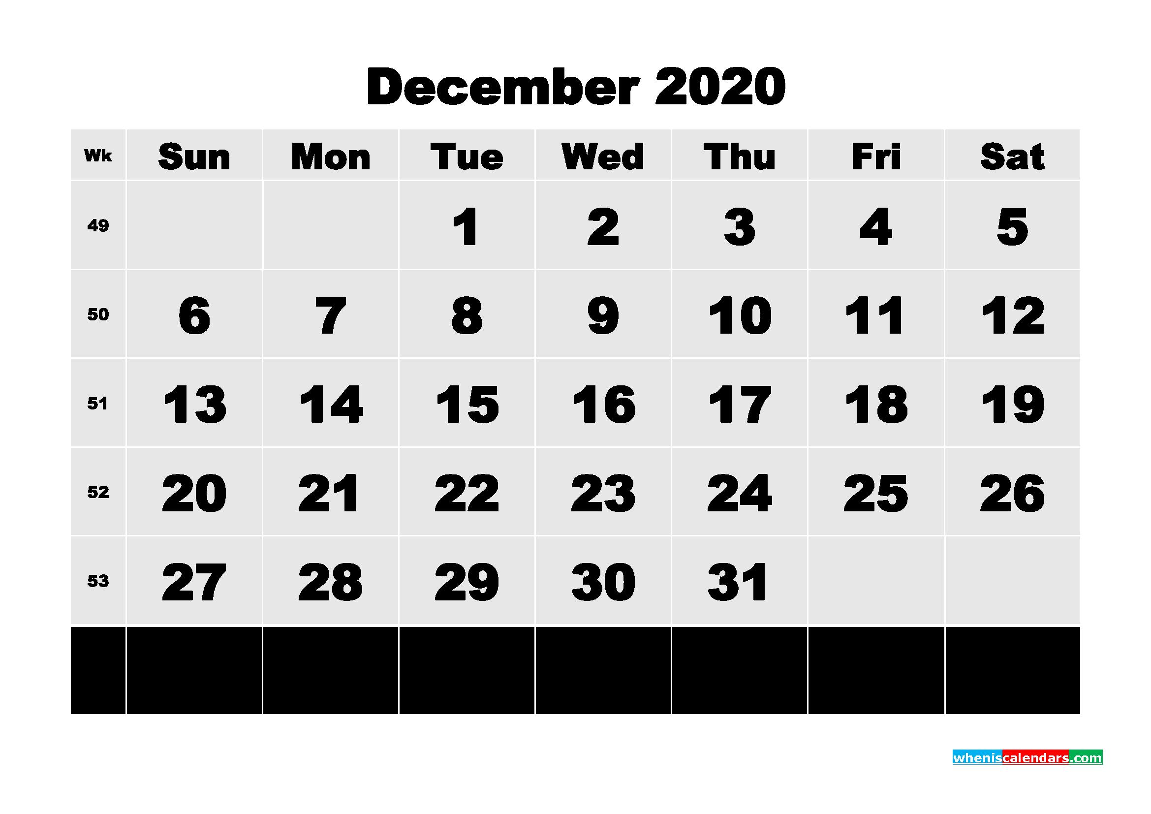Printable 2020 Monthly Calendar With Week Numbers December