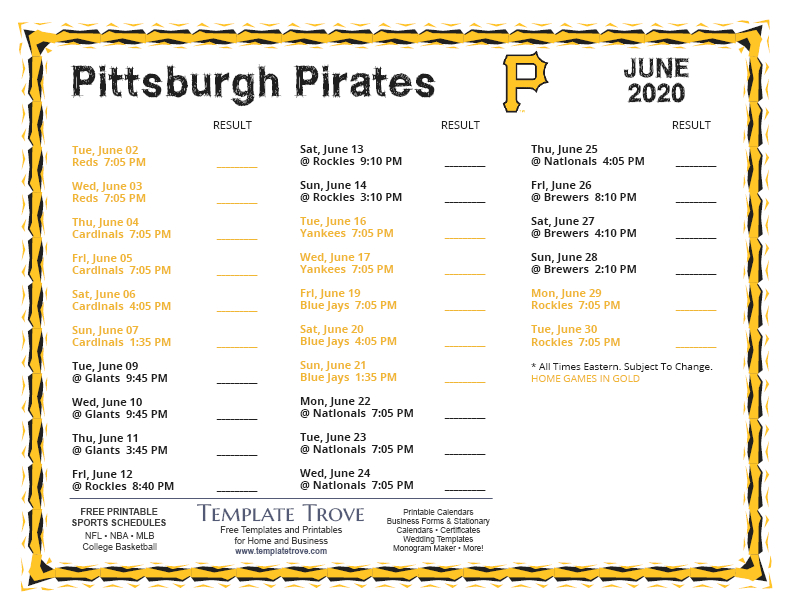 Printable 2020 Pittsburgh Pirates Schedule