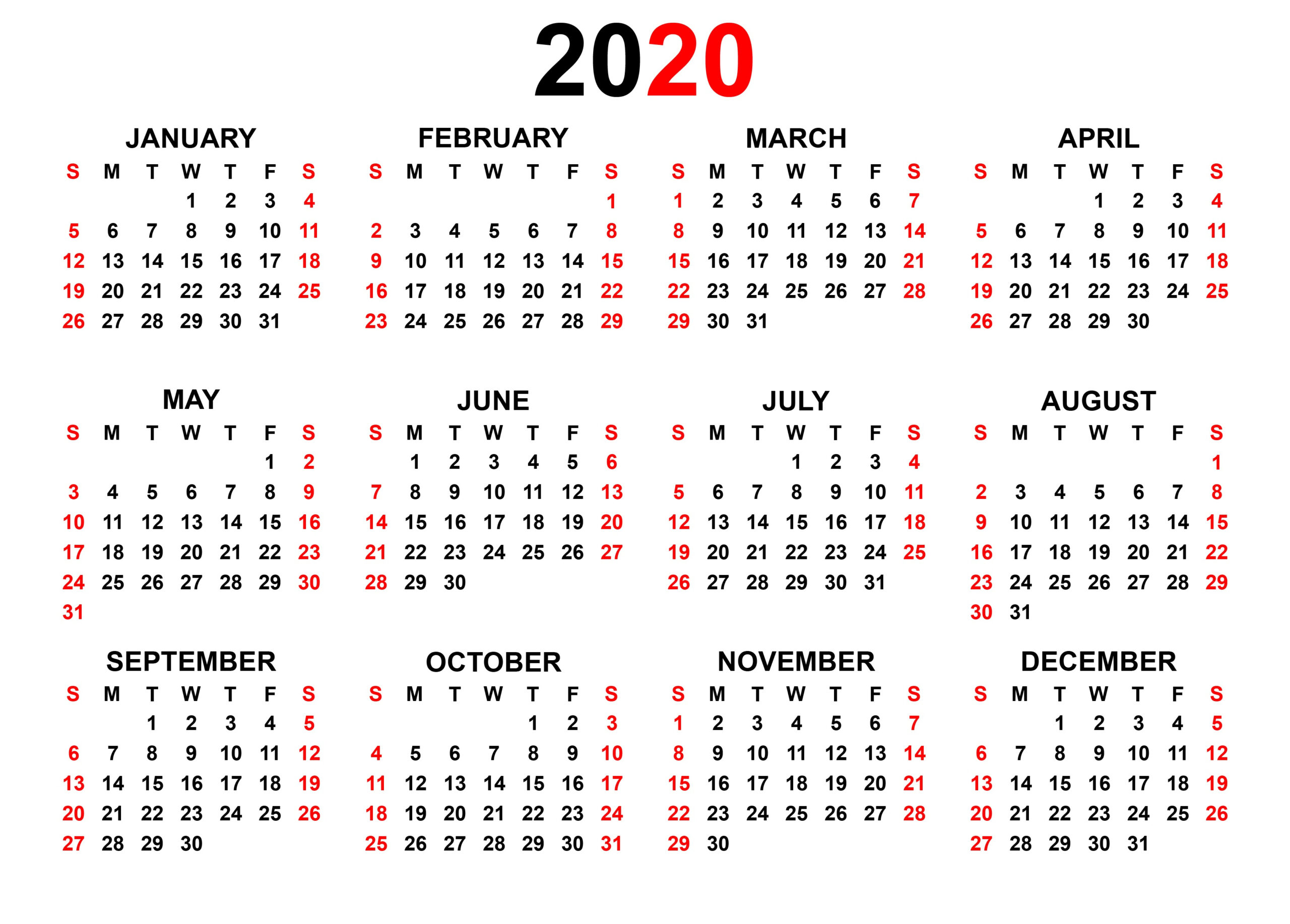 Printable 2020 Yearly Calendar | Latest Calendar