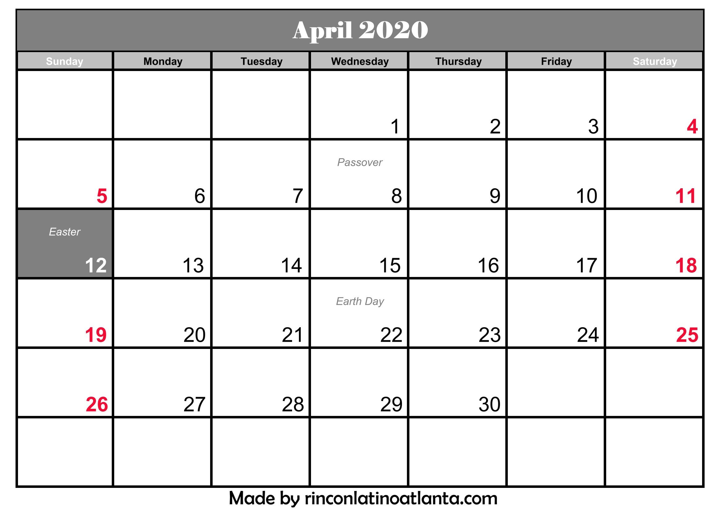Printable April 2020 Calendar With Holidays | Calendar