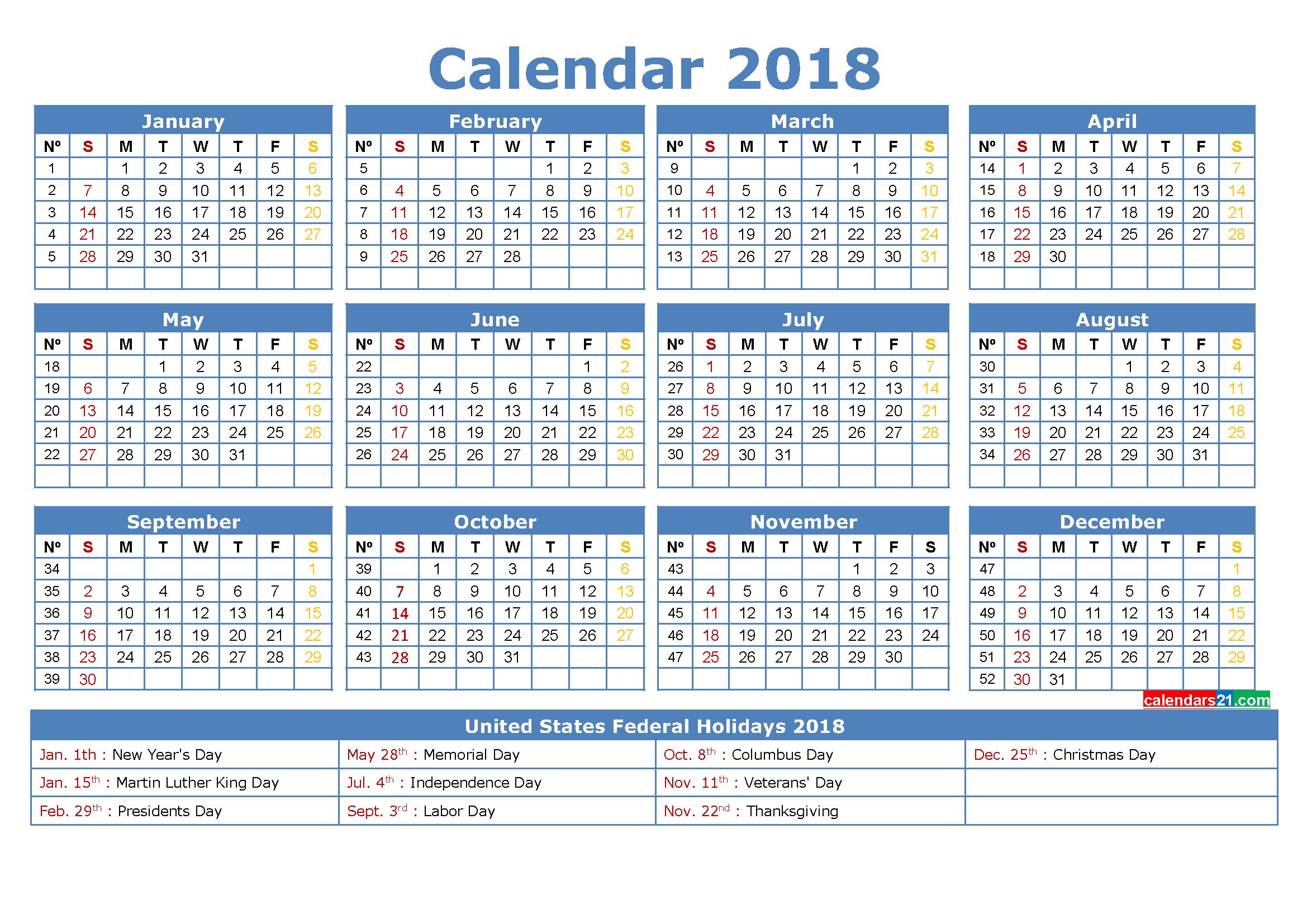 Printable Calendar 2018 With Holidays Full Year (4