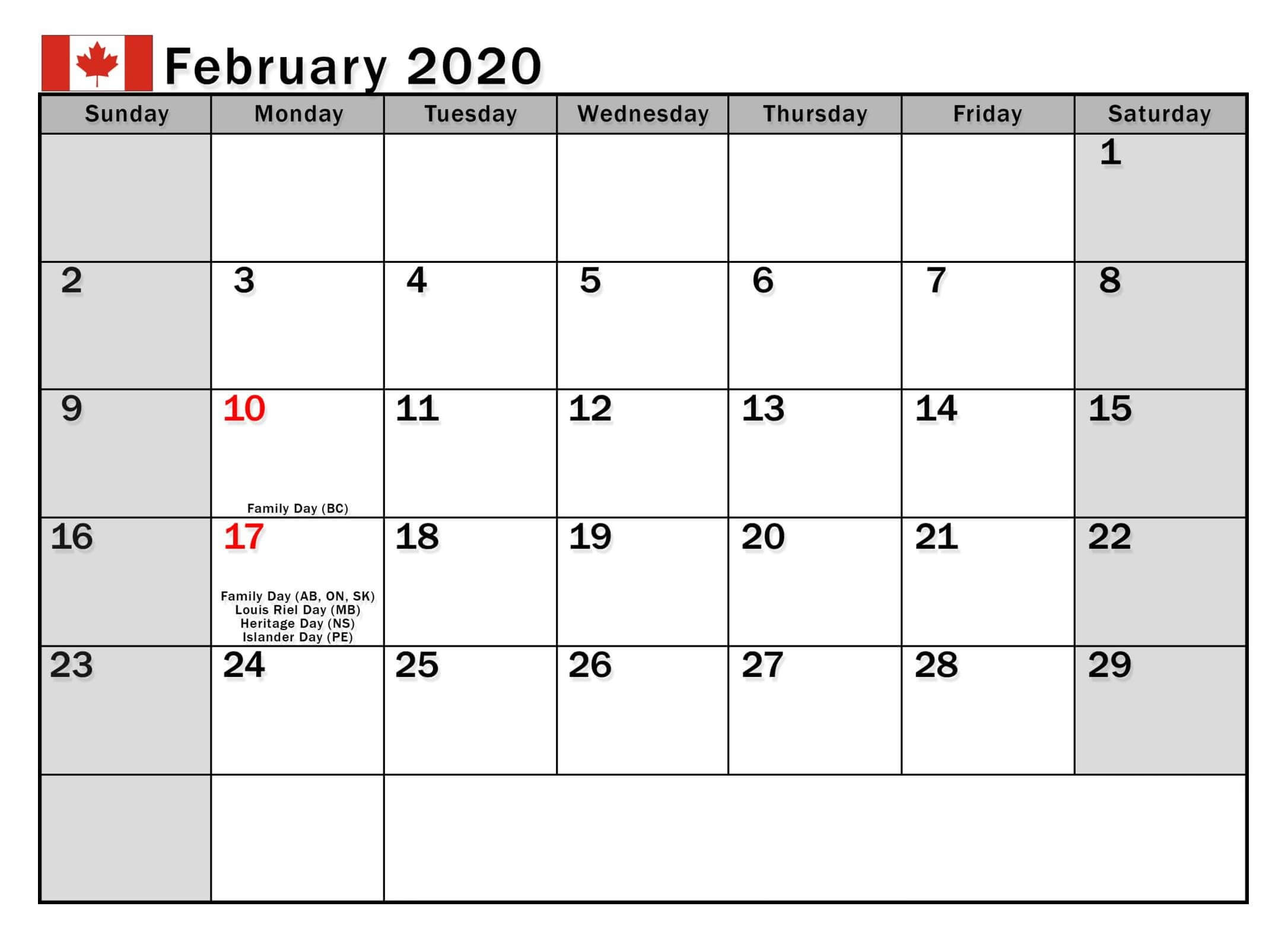 Printable Calendar 2020 Canada With Holidays | Free