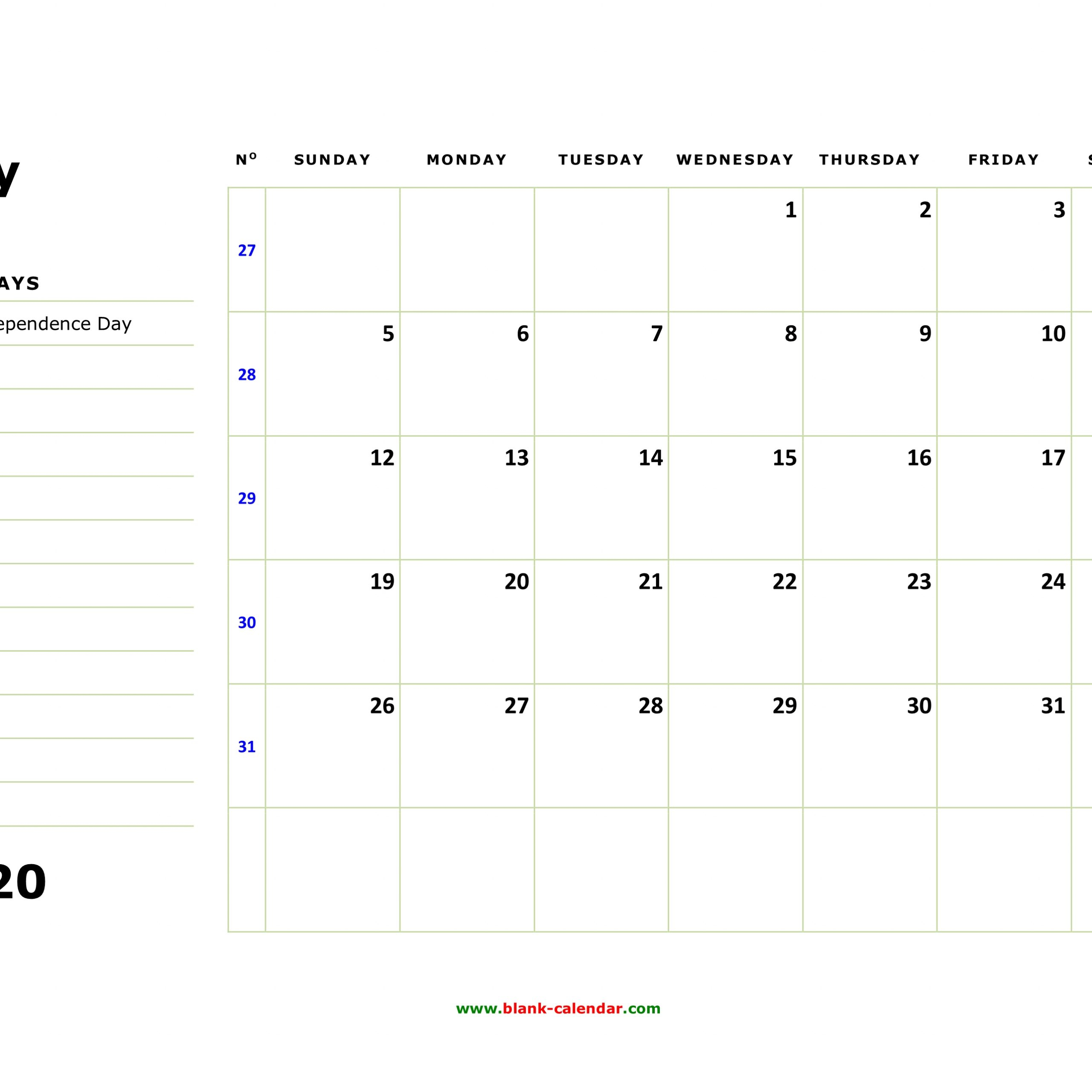 Printable Calendar 2020 With Large Boxes | Free Printable
