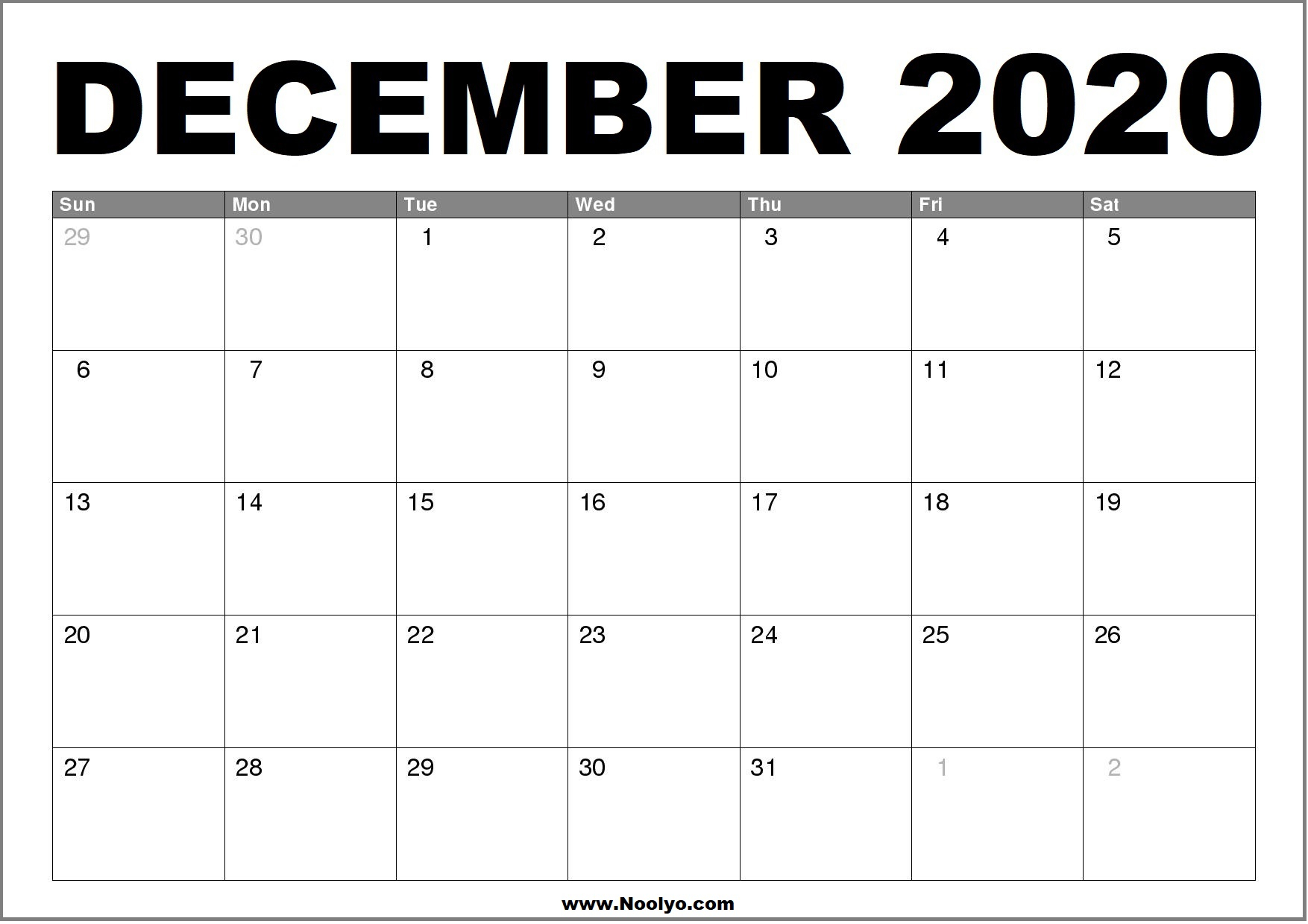 Printable Calendar For December 2020 | 2020 Monthly
