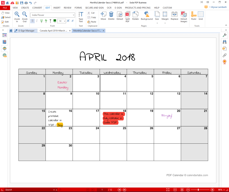 Printable Calendar For Pdf