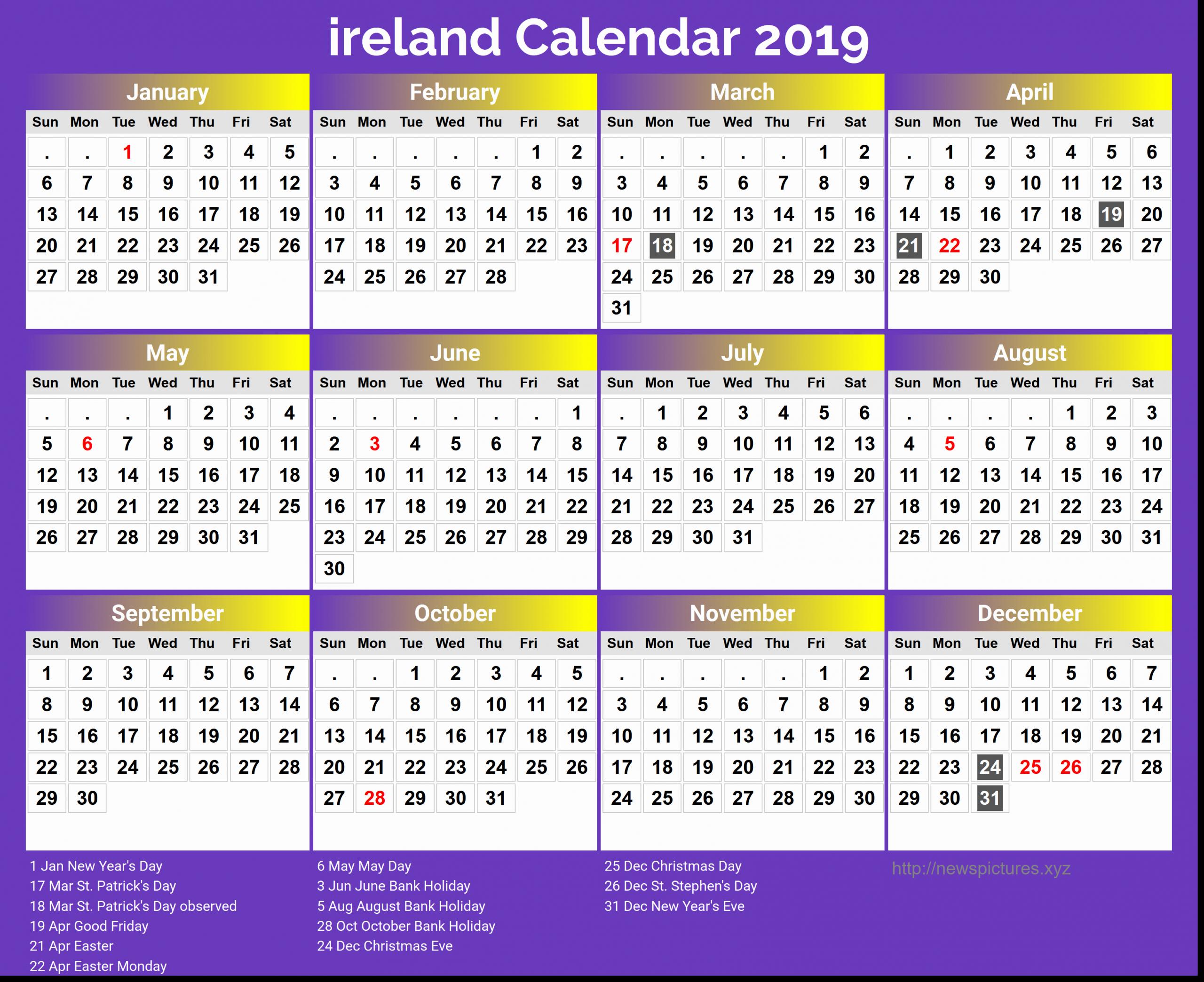 Printable Calendar Ireland In 2020 | Calendar 2018