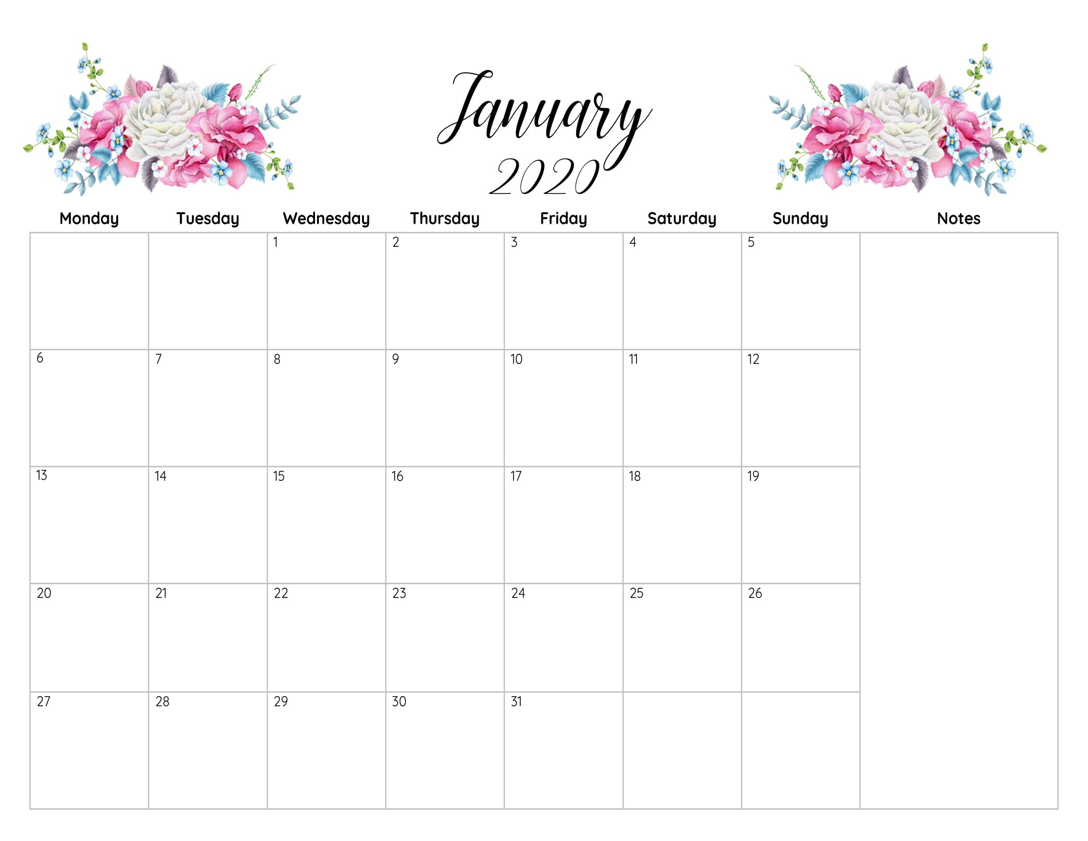 Printable Calendar January 2020 Excel Template | Printable