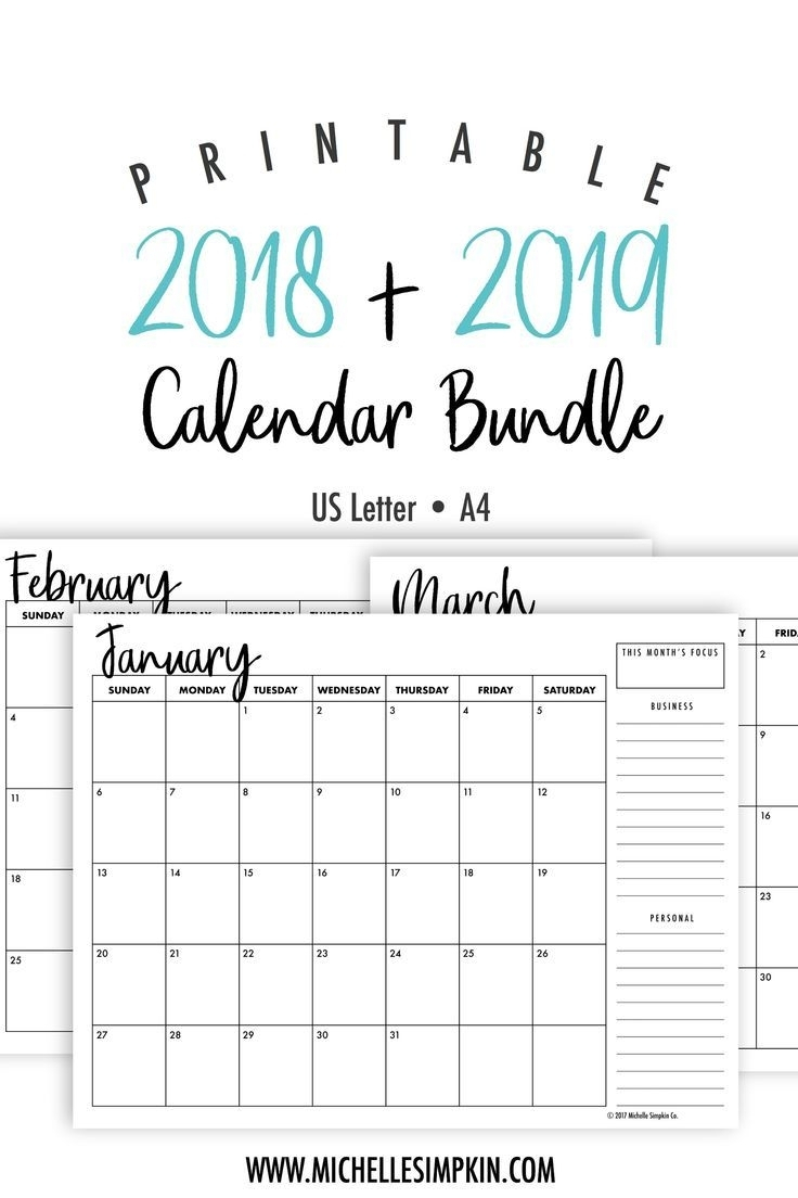 Printable Calendar Monthly 2019-2020 Free 11X17 Large