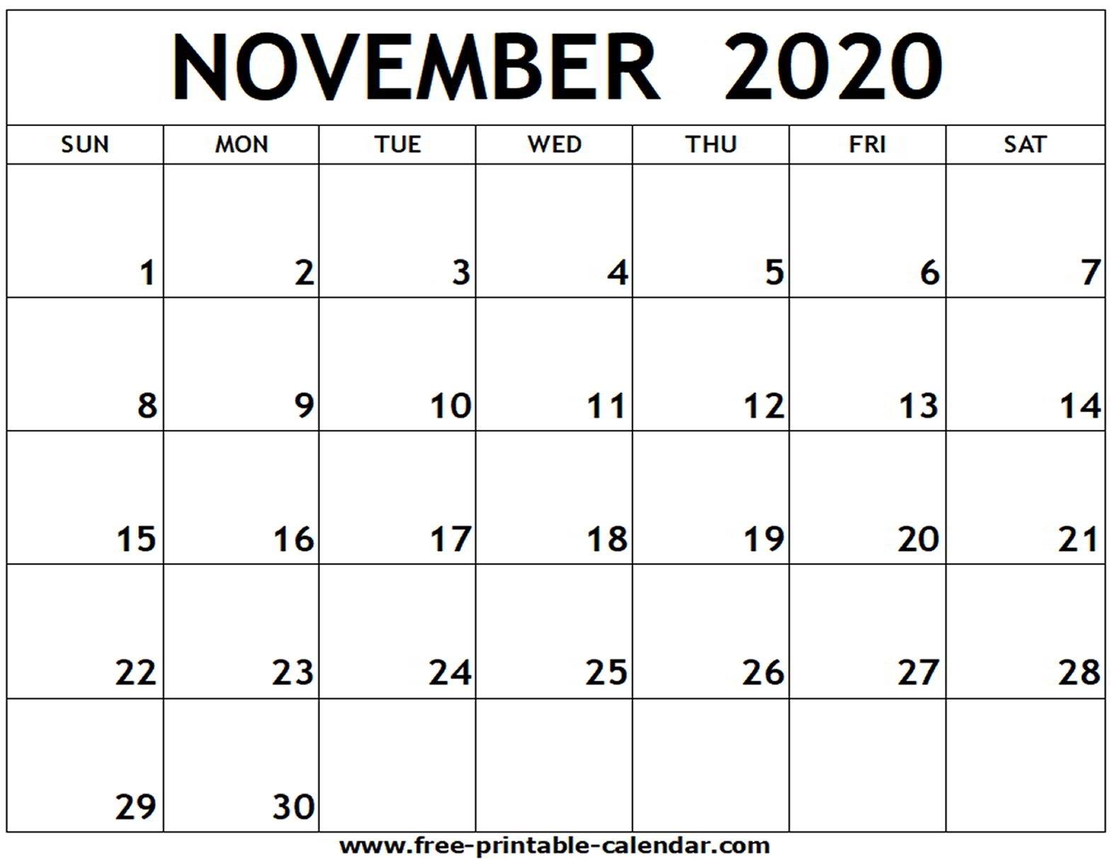 Printable Calendar November 2020 To December 2020 | Month