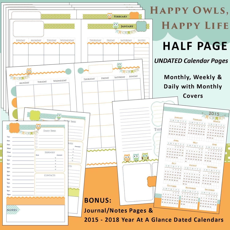 Printable Calendar Planner Happy Owls - Us Half Page