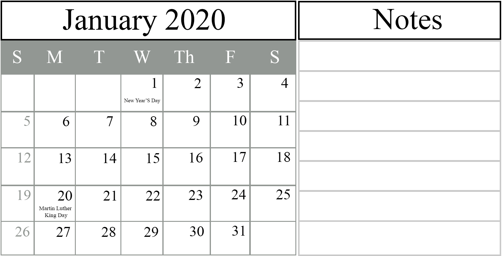 Printable Calendar Template 2020 | Printable Template Calendar