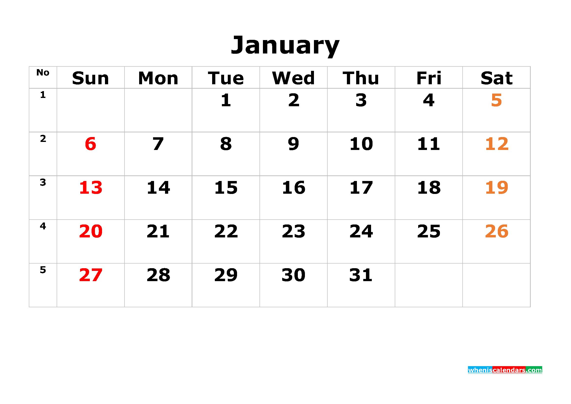 Printable Calendar Template January 2019 As Pdf And Image