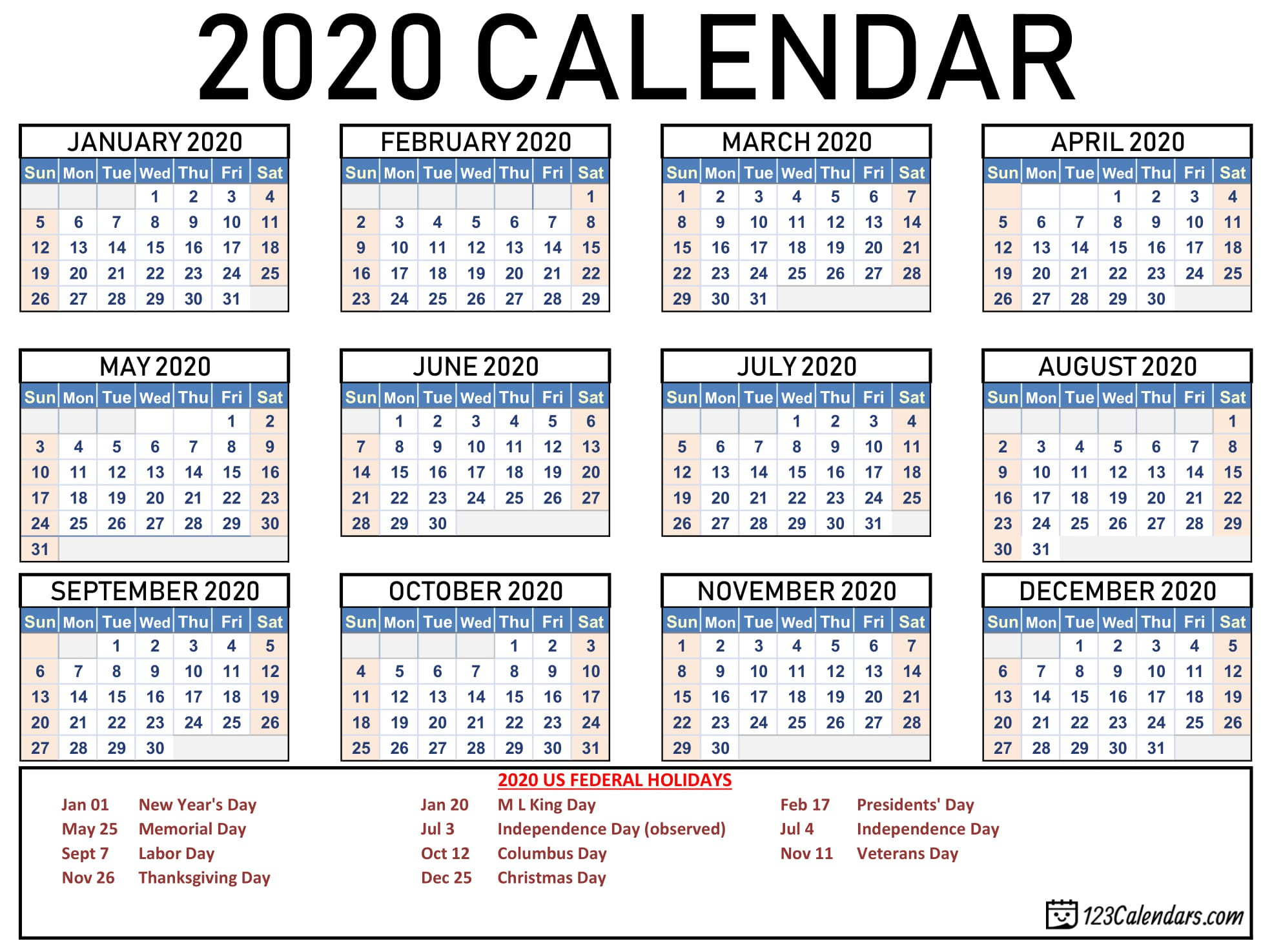 Printable Calendars With Holidays 2020 | Printable