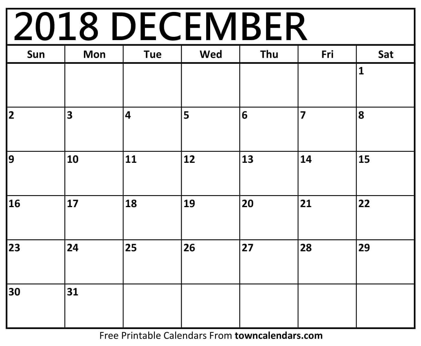 Printable December 2018 Calendar - Towncalendars
