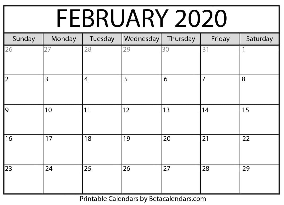 Printable February 2020 Calendar - Beta Calendars