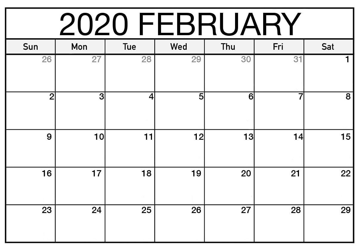Printable February 2020 Calendar Page In 2020 | February