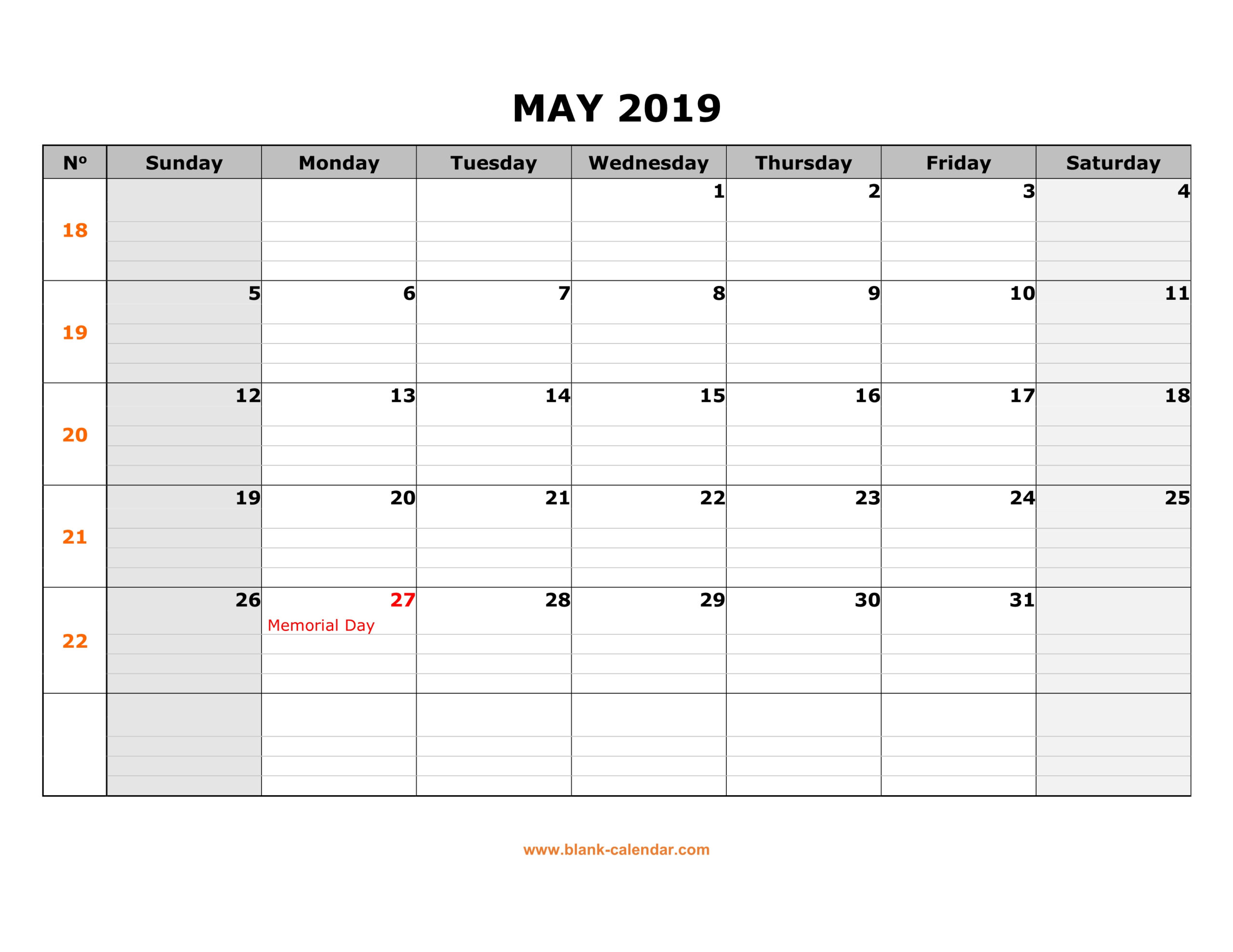 Printable Horizontal Calendar May 2019 | Printable