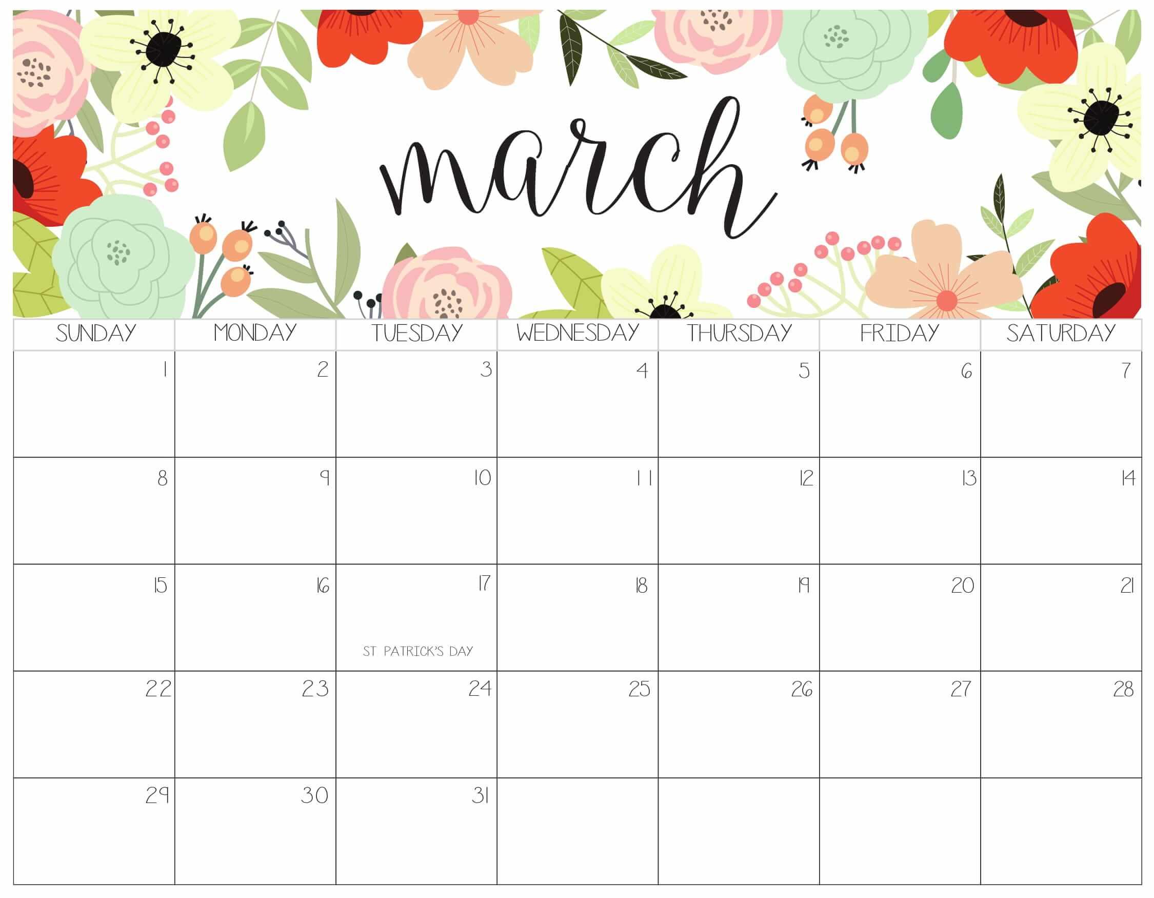 Printable March Calendar 2020 Templates - 2019 Calendars
