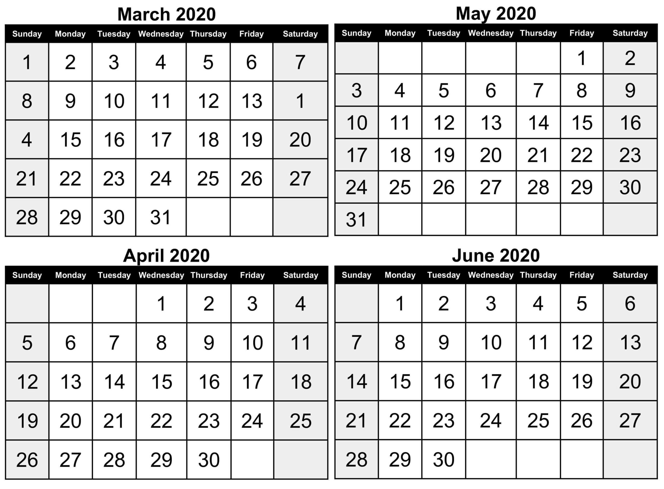 Printable March To June 2020 Calendar | Free Printable