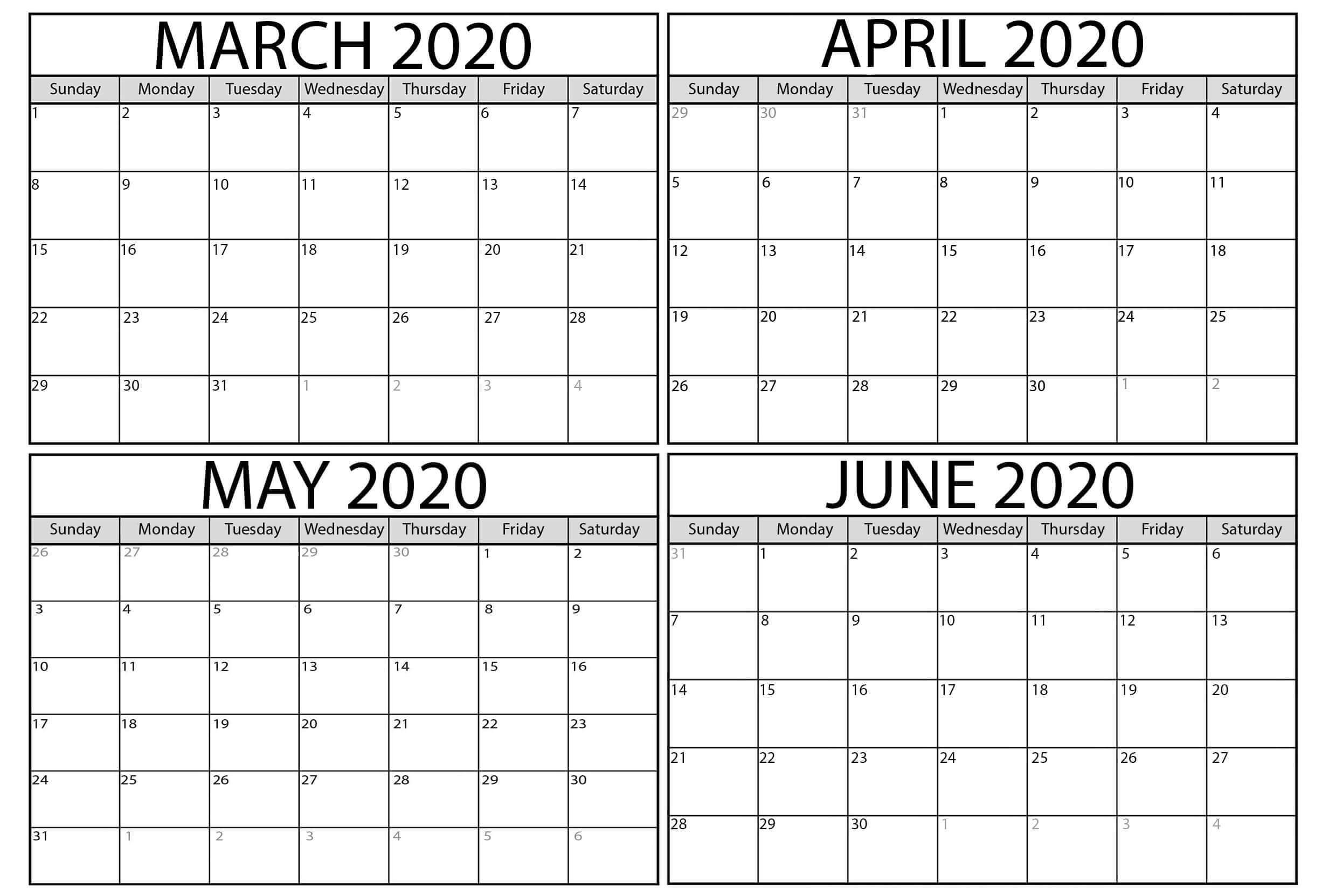 Printable March To June 2020 Calendar | Free Printable