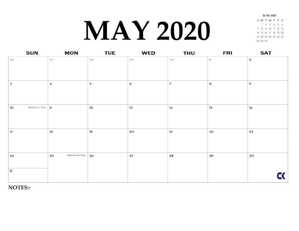 Printable May 2020 Calendar: 5 Downloadable Templates