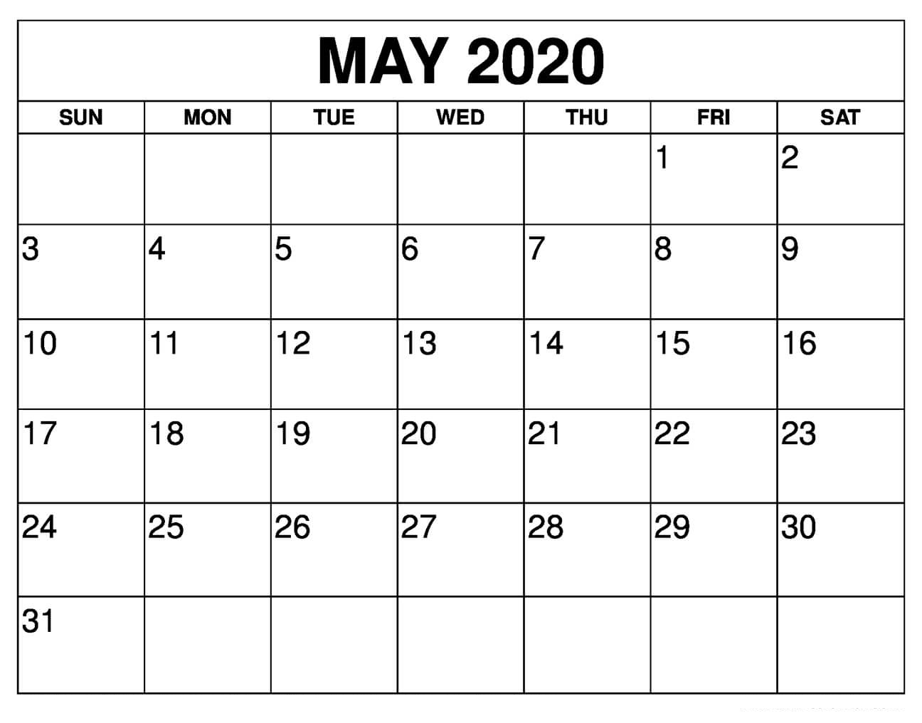 Printable May 2020 Calendar Template - Calendar Printable