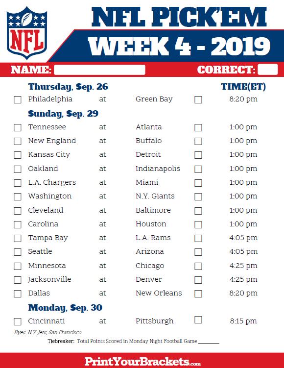 Printable Nfl Week 4 Schedule Pick Em Pool 2019