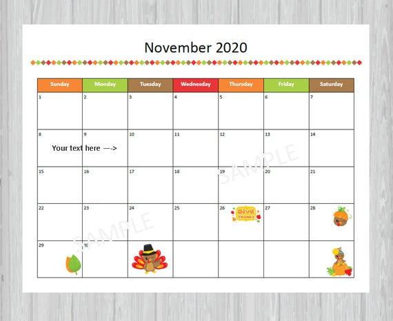 Printable November 2020 Calendar Seasonal Monthly Calendar