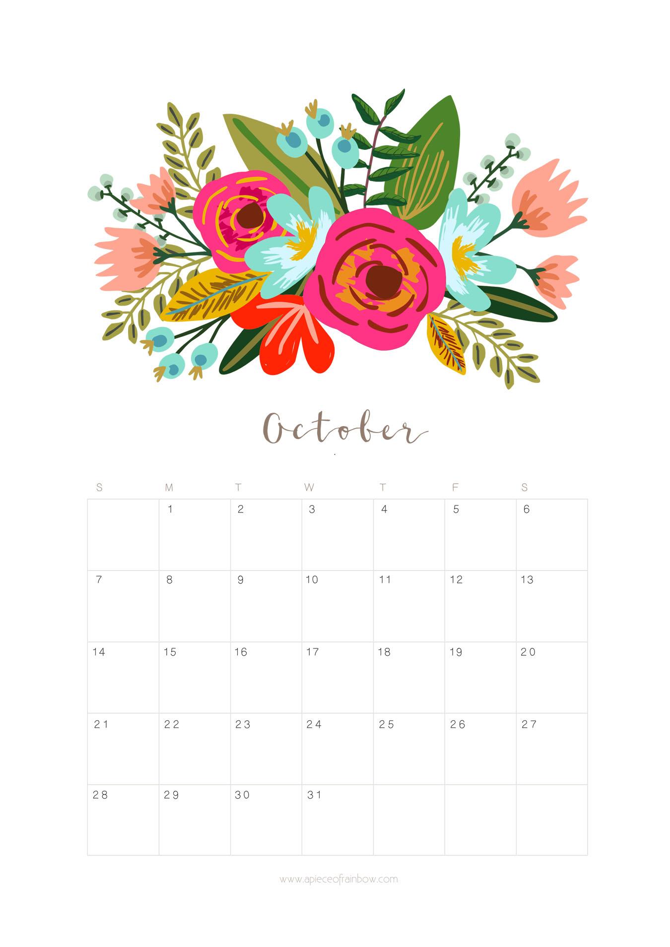 Printable October 2018 Calendar Monthly Planner - Floral