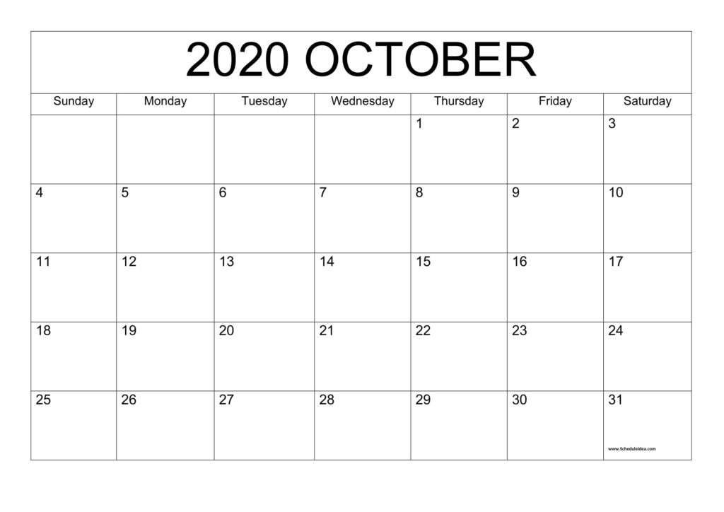 Printable October 2020 Calendar Template - Download Now