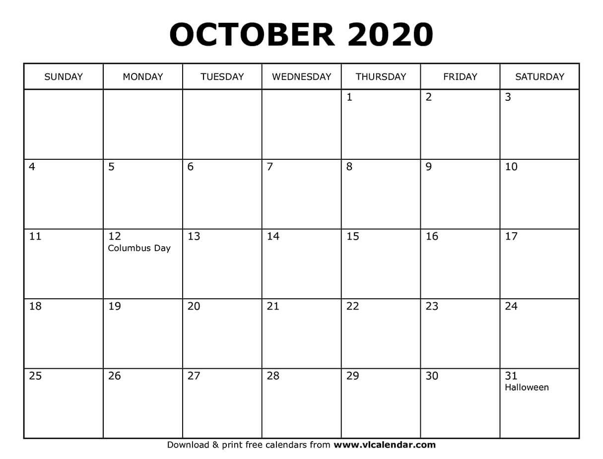 Printable October 2020 Calendars