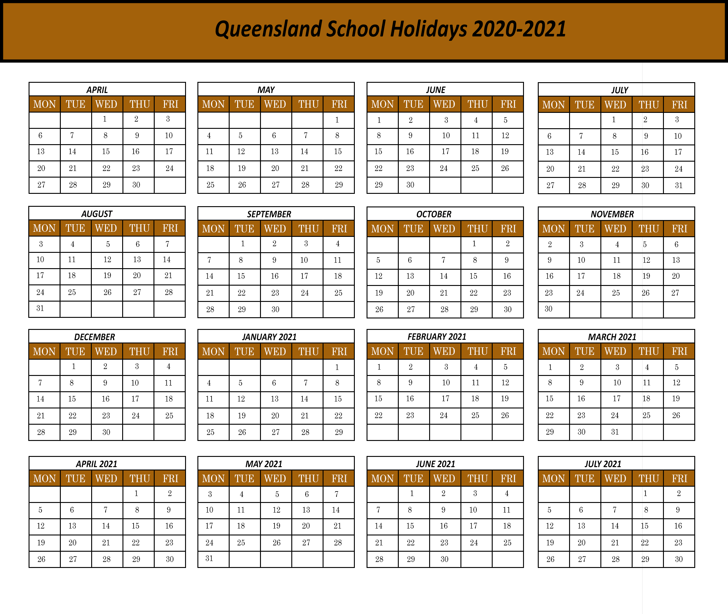 Printable Qld School Calendar 2020 | Printable Calendar 2020