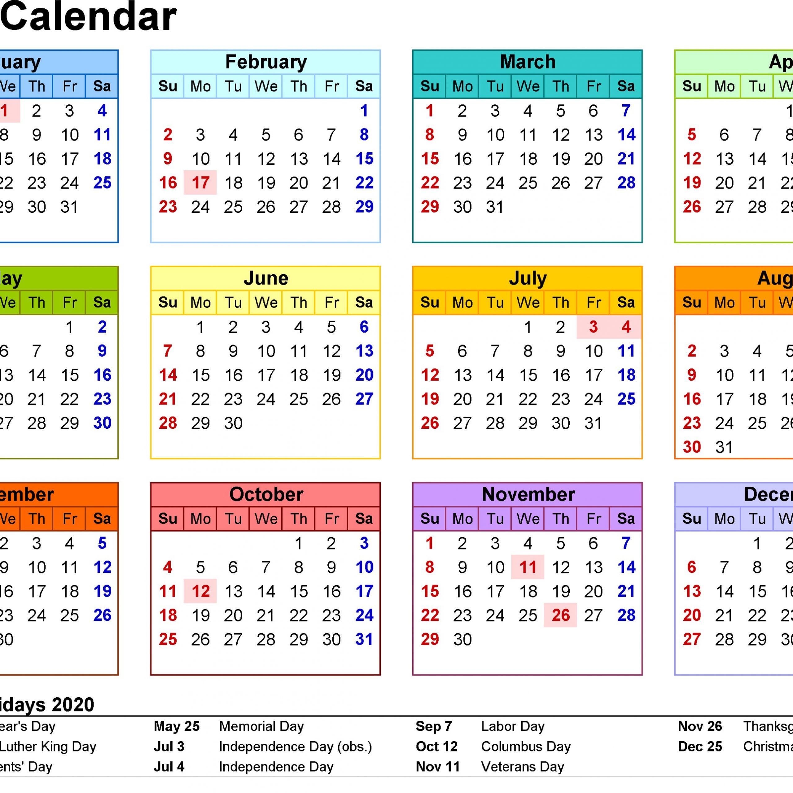 Printable Vacation Calendar 2020 | Free Printable Calendar