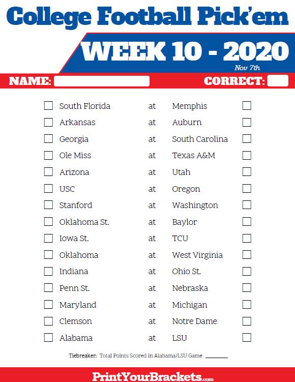 Printable Week 10 College Football Pick'Em Sheets - 2019