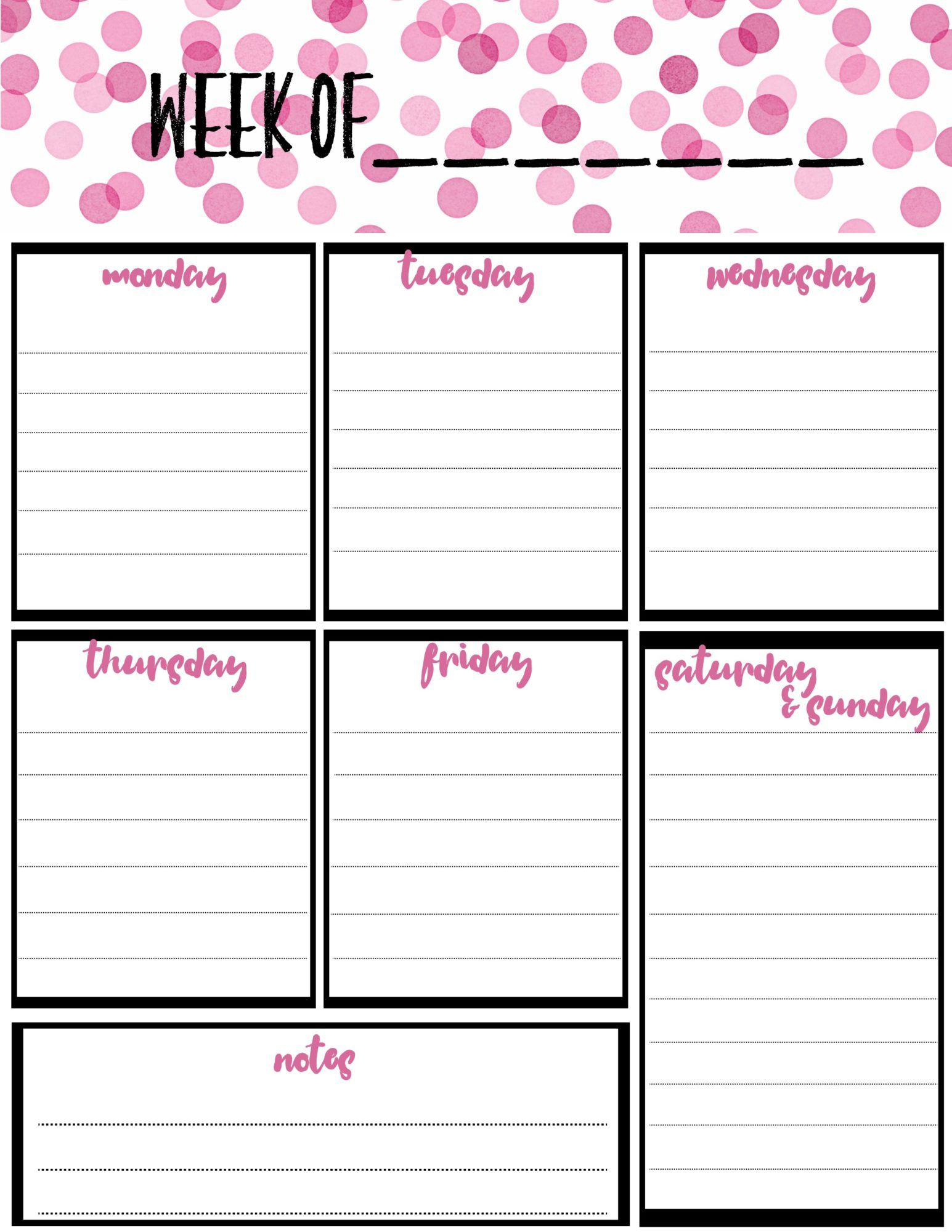 Printable Weekly Calendar - Free Download Printable