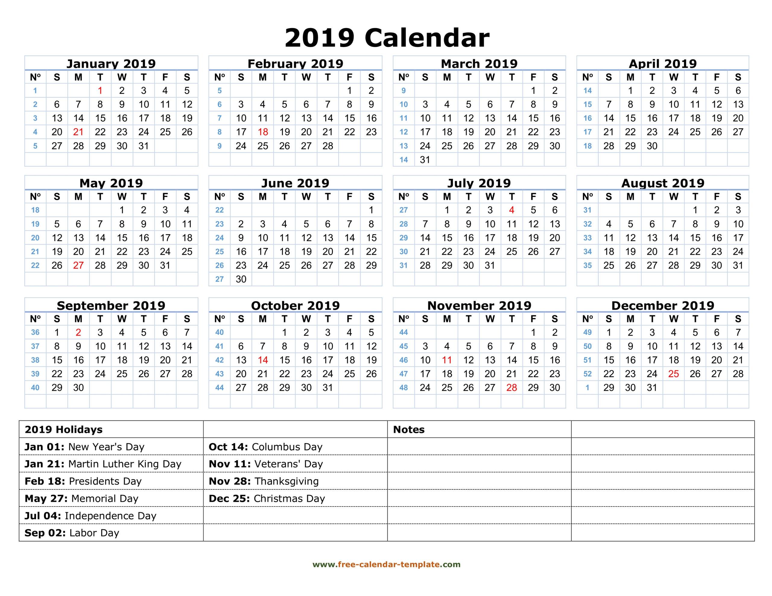 Printable Yearly Calendar 2019 | Free-Calendar-Template