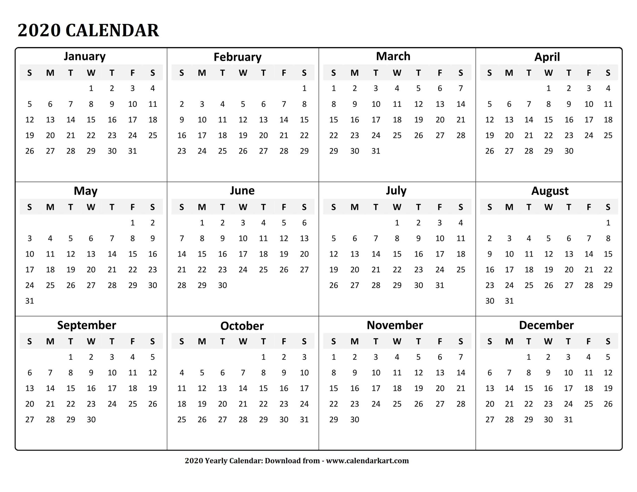 Printable Yearly Calendar 2020: 4 Free Pdf Templates