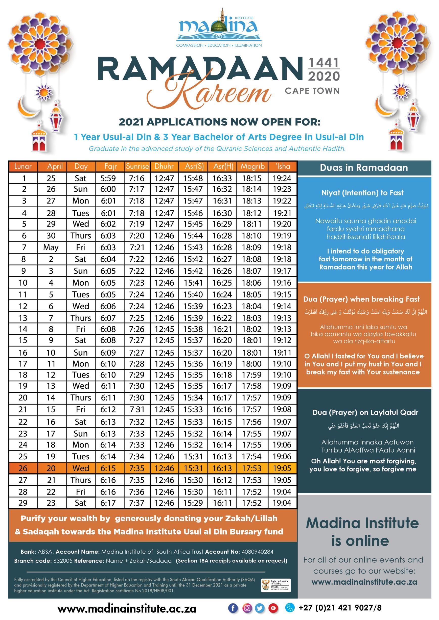 Ramadaan 1441 / 2020 Calendar – Madina Institute South Africa