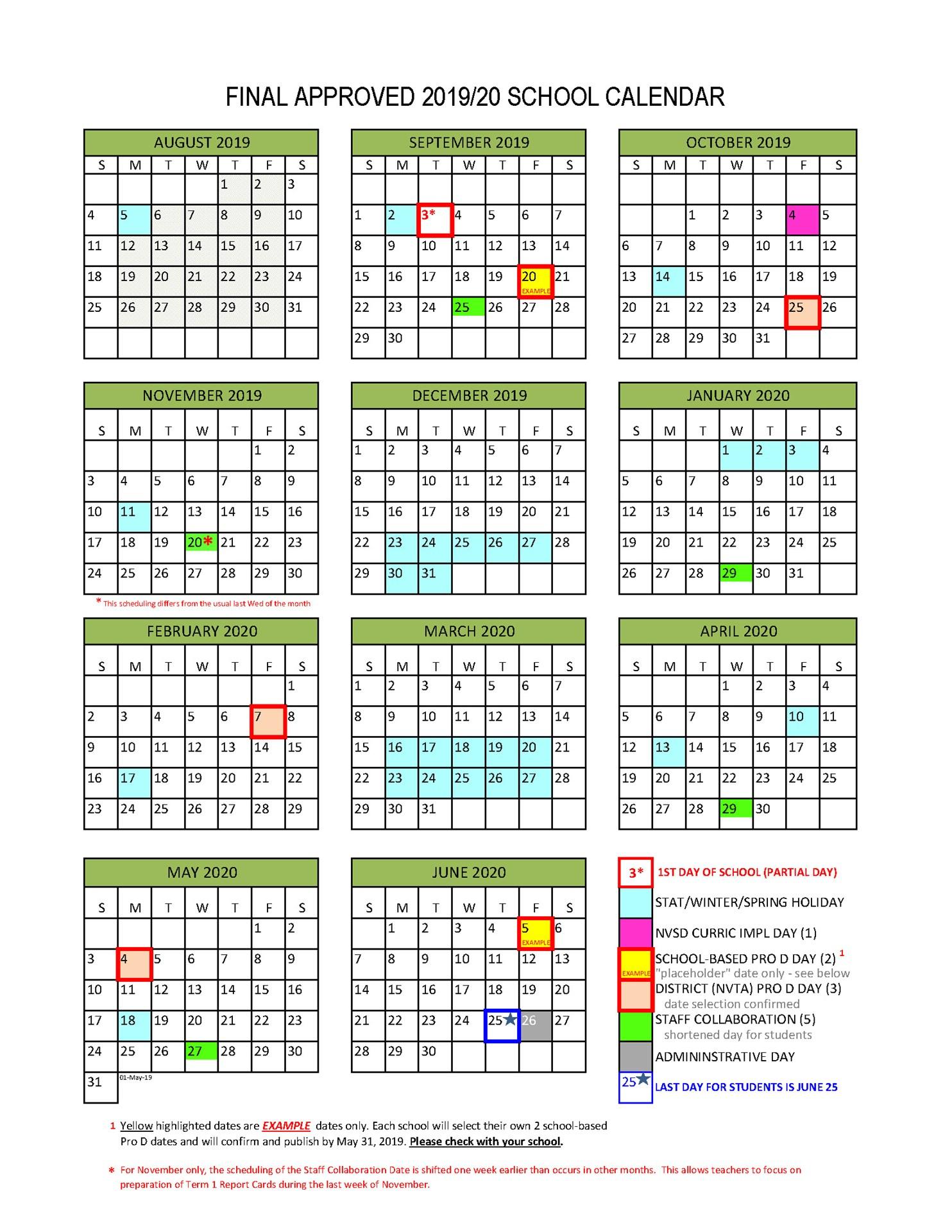 School Calendar 2020-21 | Printable Calendar Free